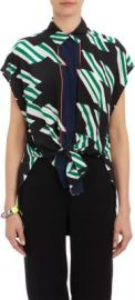 Derek Lam 10 Crosby Flag-Print Tie-Front Blouse at Barneys