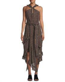 Derek Lam 10 Crosby Floral-Print Asymmetrical Ruffle Halter Dress at Neiman Marcus