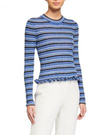 Derek Lam 10 Crosby Lilika Striped Ruffle Sweater at Neiman Marcus