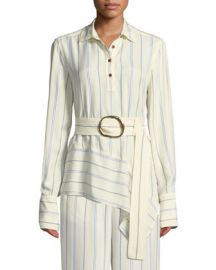 Derek Lam 10 Crosby Long-Sleeve Belted Asymmetric Shirt at Neiman Marcus