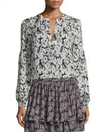 Derek Lam 10 Crosby Long-Sleeve Floral Silk Blouse at Neiman Marcus