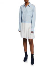 Derek Lam 10 Crosby Long-Sleeve Mixed Media Shirtdress with Pleated Hem at Neiman Marcus