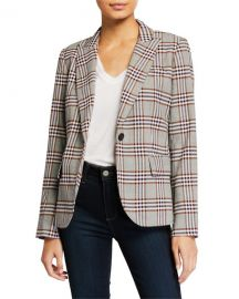 Derek Lam 10 Crosby Plaid One-Button Blazer w  Pockets at Neiman Marcus