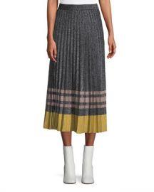 Derek Lam 10 Crosby Pleated Metallic Knit Midi Skirt at Neiman Marcus