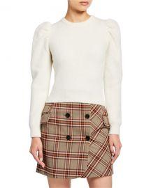 Derek Lam 10 Crosby Puff-Sleeve Alpaca Sweater at Neiman Marcus