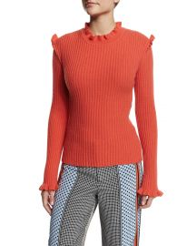 Derek Lam 10 Crosby Ribbed Cashmere Ruffle-Trim Sweater  Bright Coral at Neiman Marcus