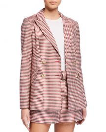 Derek Lam 10 Crosby Rodeo Double-Breasted Gingham Blazer at Neiman Marcus