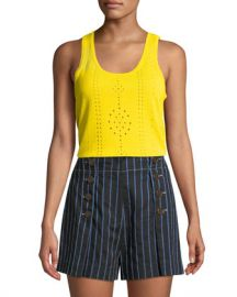 Derek Lam 10 Crosby Scoop-Neck Sleeveless Pointelle Knit Cotton Tank at Neiman Marcus