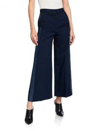 Derek Lam 10 Crosby Side-Stripe Culottes with Sailor Buttons at Neiman Marcus