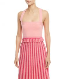 Derek Lam 10 Crosby Square-Neck Knit Crop Top with Pleated Ruffle at Neiman Marcus
