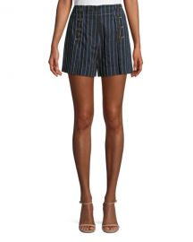 Derek Lam 10 Crosby Striped Cotton-Linen Short with Button Detail at Neiman Marcus
