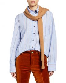 Derek Lam 10 Crosby Striped Long-Sleeve Button-Down Shirt with Knit Combo at Neiman Marcus