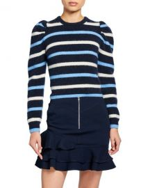 Derek Lam 10 Crosby Striped Puff-Sleeve Sweater at Neiman Marcus