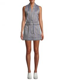 Derek Lam 10 Crosby Striped Sleeveless Vest Mini Dress at Neiman Marcus
