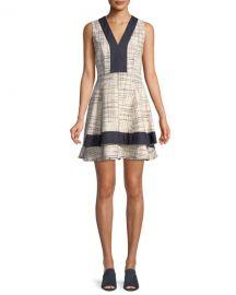 Derek Lam 10 Crosby Tiered V-Neck Mini Dress w  Denim Contrast at Neiman Marcus