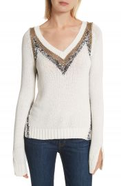 Derek Lam 10 Crosby V-Neck Stripe Pullover at Nordstrom