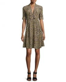 Derek Lam Leopard-Print Short-Sleeve Dress  Yellow at Neiman Marcus