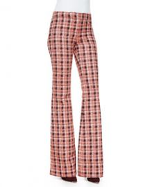 Derek Lam Novelty Plaid Flare Trousers OrangeMulti at Neiman Marcus