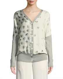 Derek Lam V-Neck Button-Front Mixed-Print Silk-Cotton Cardigan at Neiman Marcus