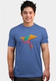 Design by Humans Vintage Geometric Colourful Paper crane Origami T-shirt at Design by Humans