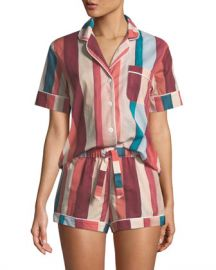 Desmond  amp  Dempsey Striped Shorty Pajama Set at Neiman Marcus