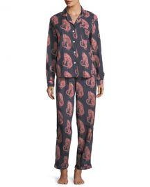 Desmond  amp  Dempsey Tiger-Print Classic Pajama Set at Neiman Marcus