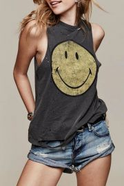 Destroyed Smiley Tank Top by Daydreamer at Shoptiques