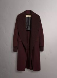 Detachable Rib Knit Collar Cashmere Coat at Burberry