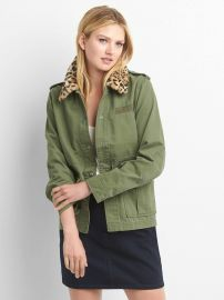 Detachable faux-fur collar utility jacket at Gap