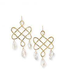 Devon Leigh Baroque Pearl Trellis Drop Earrings at Neiman Marcus