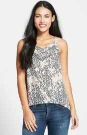 Dex Print Split Back Sleeveless Pleat Top at Nordstrom