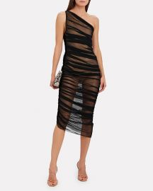 Diana Ruched Mesh One-Shoulder Dress at Intermix