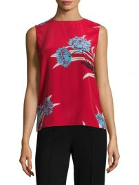 Diane von Furstenberg - Colorblock Floral-Print Silk Shell in Red at Saks Fifth Avenue