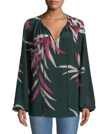 Diane von Furstenberg Silk Bird-Print Long-Sleeve Blouse at Neiman Marcus