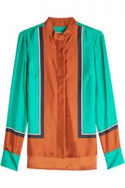 Diane von Furstenberg Silk Colorblock Blouse at Stylebop