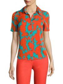 Diane von Furstenberg - Abstract-Print Collared Shirt at Saks Off 5th