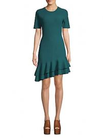 Diane von Furstenberg - Adeline Ribbed Ruffle Trim Dress at Saks Off 5th