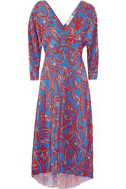 Diane von Furstenberg   Asymmetric printed silk crepe de chine midi wrap dress at Net A Porter