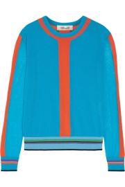 Diane von Furstenberg   Color-block cotton-blend sweater at Net A Porter