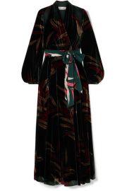 Diane von Furstenberg - Cutout printed velvet wrap maxi dress at Net A Porter