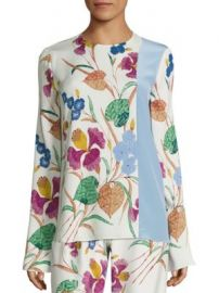 Diane von Furstenberg - Floral Print Silk-Blend Blouse at Saks Off 5th