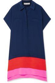 Diane von Furstenberg - Hatsu paneled color-block silk crepe de chine mini dress at Net A Porter
