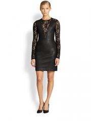 Diane von Furstenberg - Kameela Leather and Lace Dress at Saks Fifth Avenue