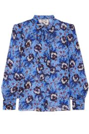 Diane von Furstenberg - Lanie pussy-bow floral-print flocked silk-blend chiffon blouse at Net A Porter