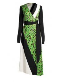 Diane von Furstenberg - Maureen Leaf Silk Midi Wrap Dress at Saks Fifth Avenue