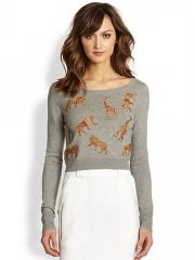 Diane von Furstenberg - Praia Leather Animal Applique Sweater at Saks Fifth Avenue