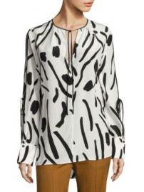 Diane von Furstenberg - Printed Tie-Sleeve Silk Blouse at Saks Off 5th
