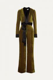 Diane von Furstenberg - Satin-trimmed striped devor  -velvet jumpsuit at Net A Porter