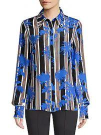 Diane von Furstenberg - Stripe Button-Down Silk Shirt at Saks Off 5th