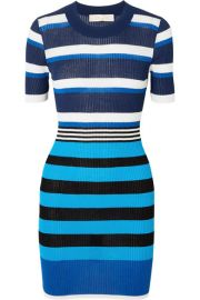 Diane von Furstenberg - Striped ribbed cotton-blend dress at Net A Porter